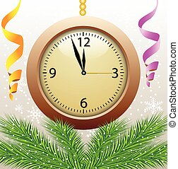 clock on a christmas background