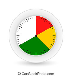 Clock on a white background with bright sectors. Vector illustra