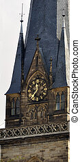 Clock on cathedral tower, Alsace, France