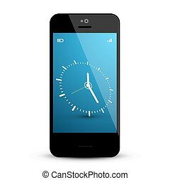Clock on Mobile Phone Screen