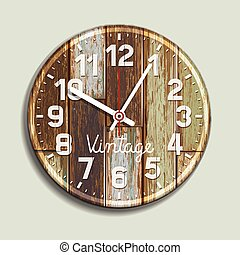 Clock on old wood background.
