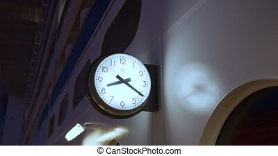 Clock on the deck of a cruise ship.