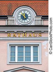 clock on the facade, symbolizing an empty treasury in...