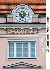 clock on the facade, symbol of an empty treasury in...