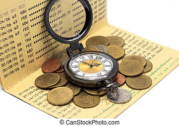 Clock on the pile of money and book bank on White background.