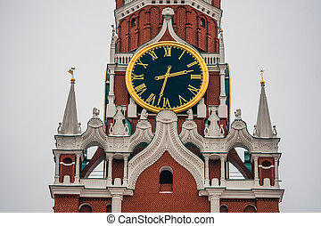 clock on the Spasskaya tower in red square in Moscow