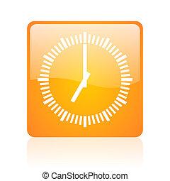 clock orange square glossy web icon