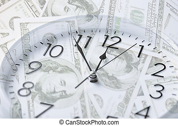 clock over money with double exposure