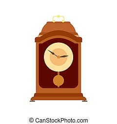 Clock pendulum vector old grandfather antique illustration time wall. Watch vintage isolated retro hour minute