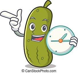 Clock pickle character cartoon style