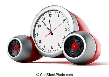 Clock pointing a couple of minutes to 12 with jet engines.3D illustration