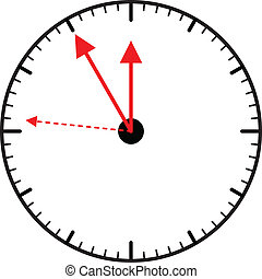 Clock pointing almost five to twelve, vector