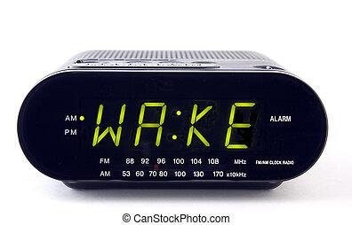 Clock Radio with the word WAKE - A Clock radio with the word...