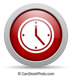 clock red circle web glossy icon