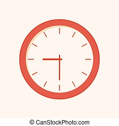 Clock - red vector icon with shadow