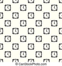 Clock retro pattern seamless vector