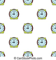 Clock seamless pattern in cartoon style isolated on white background vector illustration