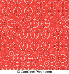 Clock Seamless Pattern. Vector Clock Face Set on Red Background.