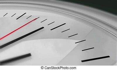 Three dimensional close-up animation of a chrome clock ticking. High definition 1080p.
