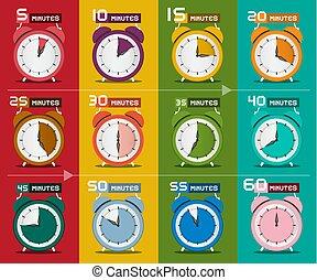 Clock Set. Five to Sixty Minutes Alarm Clock Icons. Vector.