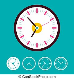 Clock Set on Blue Background. Vector Time Icons.
