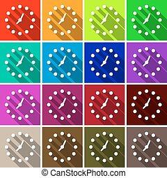 Clock Set. Vector Colorful Retro Clock Face Background.