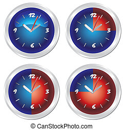 Clock set. World time