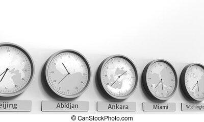 Clock shows Ankara, Turkey time among different timezones....