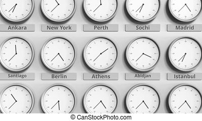 Clock shows Athens, Greece time among different timezones....