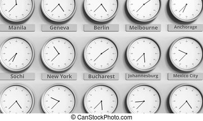 Clock shows Bucharest, Romania time among different...