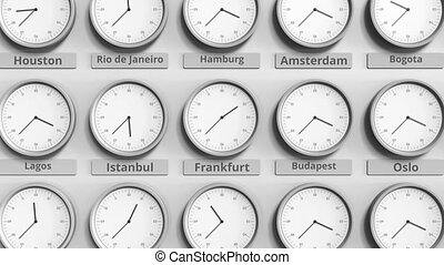 Clock shows Frankfurt, Germany time among different...
