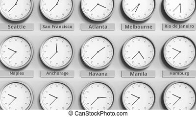Clock shows specific time among different time zones