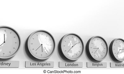 Clock shows London, United Kingdom time among different...