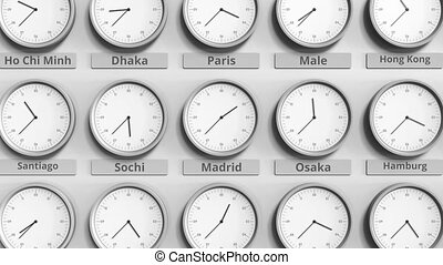 Clock shows Madrid, Spain time among different timezones. 3D...