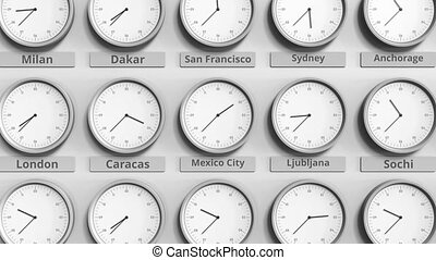 Clock shows Mexico city, Mexico time among different...