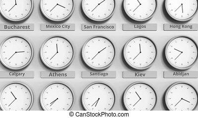 Clock shows Santiago, Santiago de Chile time among different...