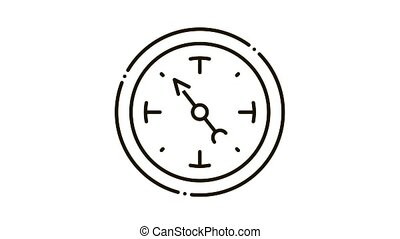clock shows time Icon Animation. black clock shows time animated icon on white background