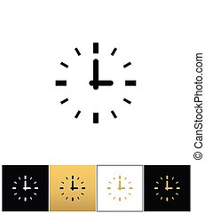 Clock sign or round time vector icon