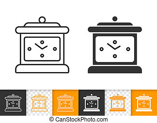 Clock simple black line vector icon