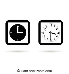 clock square ancient set in black and white color illustration