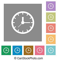 Clock square flat icons