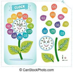 Clock sticker game for children