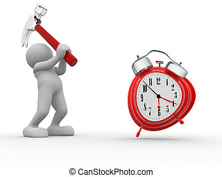 Clock - 3d people - human character, person with hammer and...