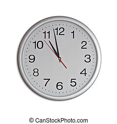 clock - round office clock isolated on white