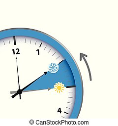 clock switch to winter time sun and snowflake