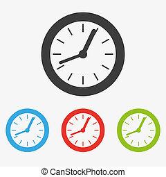 Clock symbol icon - Set of clean simple modern flat clock ...