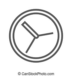 Clock Thin Line Vector Icon.