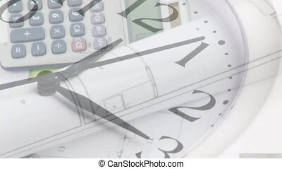 Clock ticking against calculator and documents spinning - ...