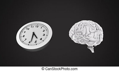Clock ticking and brain rotating - Animation of clock ...