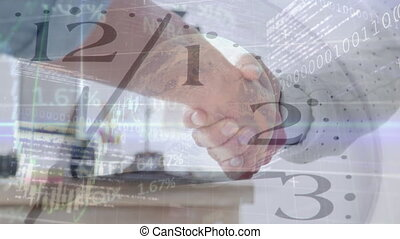 Clock ticking and data processing against businesspeople ...